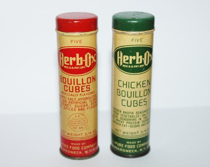 Vintage Pair of 1950s Herb-Ox Bouillon Cube Tins, Vintage Kitchen Decor
