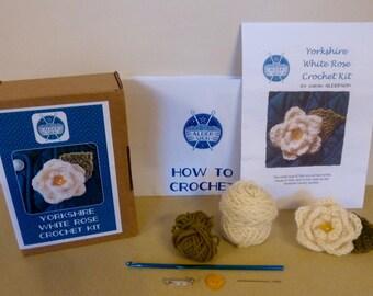 Yorkshire White Rose Corsage crochet kit
