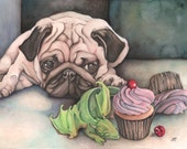 The Quandary by Holly Morningstar original cute watercolor fantasy art print of Pug with baby dragon and cupcakes puglife puppy dog