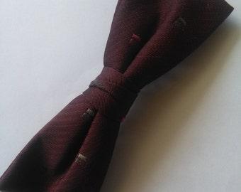 Vintage burgundy clip on bowtie