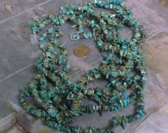 Turquoise Chip Beads - 32-34 inch strand