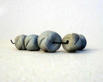 Grey Blue   Bead Set, Handmade Ceramic Beads, Rondelle Beads, Jewelry Supplies