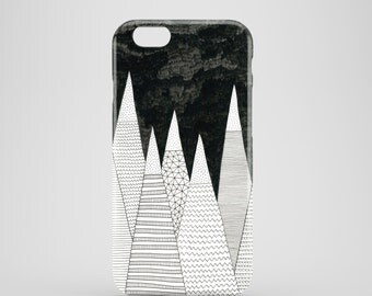 White Peaks phone case, black and white iPhone 7, iPhone 7 Plus, iPhone SE, iPhone 6S, iPhone 6, iPhone 5S, iPhone 5, mountain phone case