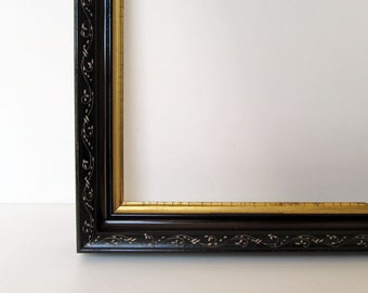 Eastlake! Satin Black Original Finish Antique Frame Incised White Design with Water Gilded Fillet c.1900 By TransferofTreasures