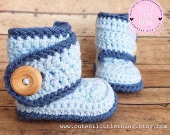 Baby Boy Booties, Blue Booties, Baby Boy Shoes, Crochet Boy Boots, UGG, Crochet Baby Boots, Crochet Booties, Baby Boots, Crochet Shoes