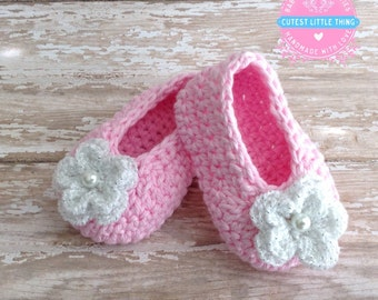 Pink Crochet Baby Booties , Christening,  Baptism, Crochet Booties, Baby Girl Booties, Baby Girl Slippers