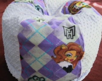 New MONSTER HIGH Purple and Lavender  Minky Chair - ONE Only - Immediate Shipment- Kids Pouf - Stuffed Toy and Extra Bedding Storage -