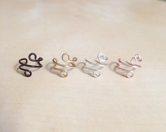 Set of 2 silver, gold, rose gold, black ear cuffs, non piercing, adjustable, ear wrap, ear wire, wire jewelry
