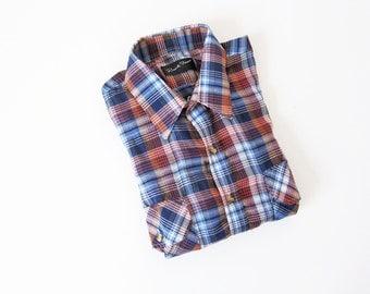 70s Western Plaid Button Up / 1970s Clothing /Womens Plaid Shirt
