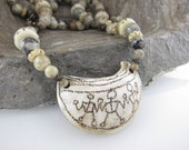 """Snowflake Jasper Necklace with Nepalese Shell Pendant 22"""" SPECIAL ETSY PRICE"""