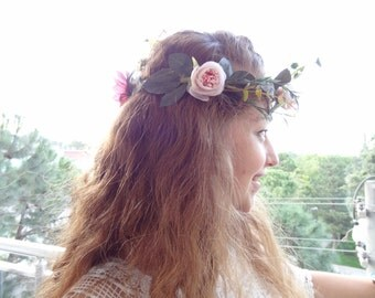Powder Pink Rose Flower Crown, Wedding Hair Wreath, Bridal Flower Crown, Hair Accessories, Bridesmaid Gift, Woodland