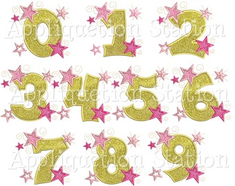 Star Number Set Birthday Applique Machine Embroidery Design 1,2,3,4,5,6,7,8,9,0 INSTANT DOWNLOAD