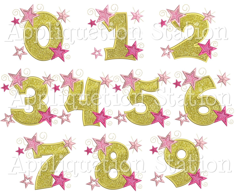 Star number set birthday applique machine embroidery design