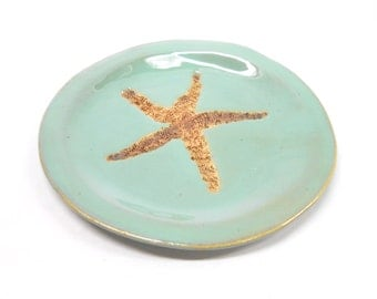 Starfish Plate Starfish Pottery Soap Dish Ceramic Spoon Res, Pottery Soap Dish Pottery Plate Unglazed Starfish Impression in Turquoise