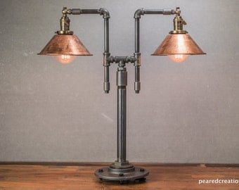 vintage table lamp industrial style iron piping copper shade steampunk furniture