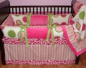 SALE! Custom Modpeapod Hot Pink Green Stripe Polka Dot Crib Baby Bedding Set ONLY ONE on sale and ready to ship