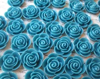 Resin Rose Flower, 6 pcs 20mm Dark Teal Resin Flower Cabochon, Perfect for Bobby Pins, Rings, Earrings
