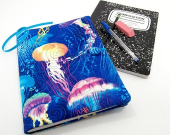 Composition Notebook Cover, Reusable Fabric Journal Cover, School Notebook  - Colorful Jellyfish on Blue, Ocean Life Notebook