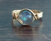 Fall Sale Labradorite Wire Wrapped Ring, Labradorite Gemstone Ring, 14k Gold Filled Ring, Any Size