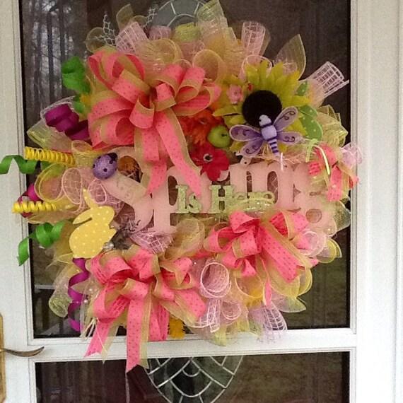 Spring Door Wreath Wreaths Easter Wreath By Wreathsetc On Etsy