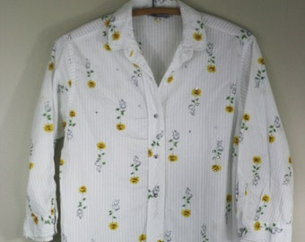 vintage ellen tracy cotton blouse with rhinestones size 34