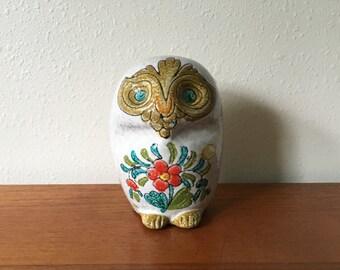 Vintage Mod Italian Ceramic Owl Bank