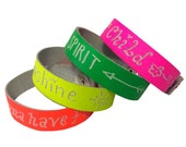 Custom Made Genuine Leather Bracelet, Engrave Your Name on Neon Leather Bracelet, customized jewelry stackable bracelet