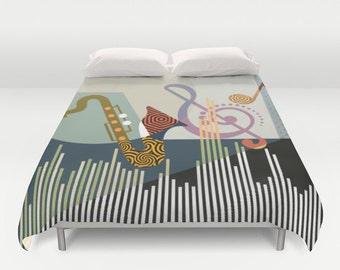 Music Bedding, Music Decor, Music Lover Gift, Music Notes, Queen Duvet Cover, Full Duvet Cover, King Duvet Cover
