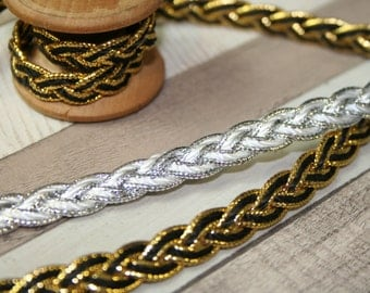 Silver and Gold Braid Gimp Trim, Upholstery, Furnishing, Plaited Ribbon