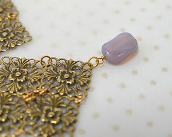 Antique gold lace filigree earrings Boho dangle earrings Lavender glass bead drop Lightweight earrings Tudor Medieval Renaissance jewelry