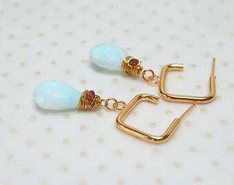 Peruvian blue opal earrings Boho teardrop earrings Peru opal dangle drop earring Square gold hoop earring Wire wrapped gemstone hoop earring