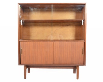 Mid Century Modern Beaver + Tapley Narrow Sliding Glass Door Bookcase