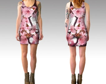 Spring Flowers Pink Bodycon Dress - fine art photography, limited edition wearable art, pink and white cute short dress
