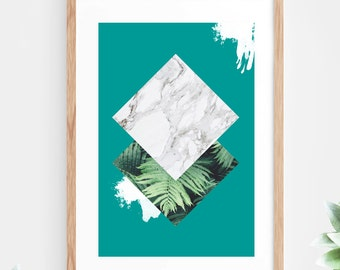 Copper Bronze Foil Geometric Printable Wall Art Turquoise Marble Instant Download Teal Green Tropical Leaves Ferns Geometric Contemporary