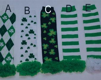 St Patrick's Day Leg Warmers, Green Shamrock Leg Warmers, Shamrock Argyle Leggings, Baby Leg Warmers, Baby Girl Clothes, St Patrick Day Girl
