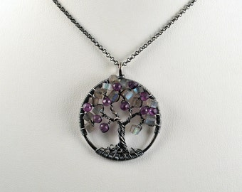 Faceted Amethyst and Labradorite Tree of Life, Antique Sterling Silver, Pendant