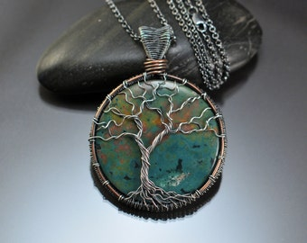 Ocean Jasper, Mixed Metal, Sterling Silver, Antique Copper, Woven, Tree of Life, Pendant, Double Sided