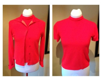 Vintage late 50s Bright Red Twin-Set - S/M