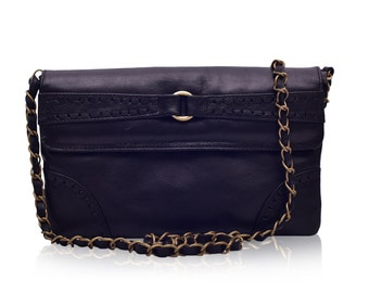 NIRVANA. Leather chain bag / leather clutch / leather purse / black leather bag / leather bag. Available in different leather colors.