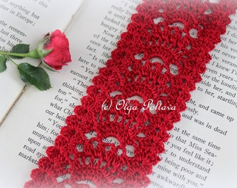 Red Lace Crochet Bookmark Pattern, Crochet Lace Edging Pattern, Lace Trim