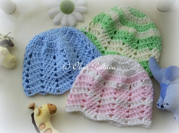 Crochet Baby Hat Patterns 0 3 Months : Ripple Baby Beanie Crochet Pattern Baby Girl and Baby Boy Hat
