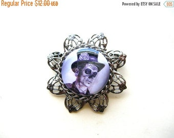 SALE Day of the Dead Brooch - Halloween Brooch - Day of the Dead Pin - Halloween Pin - Halloween Jewelry