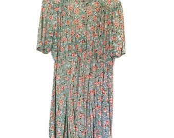 Vintage Green Floral Dress | Large 12-14