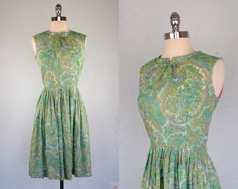 1960s Dress, 60s Dress, Fitted Dress, Full Skirt Dress, Paisley Dress, Small, Green Dress, Day Dress
