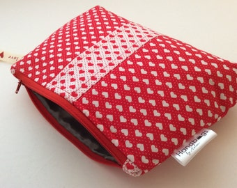 Red heart Valentine make up bag