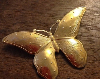 Gold Butterfly Textured Brooch