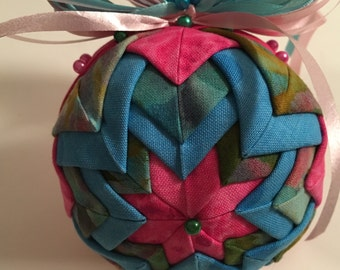 Quilted Pink and Blue Spring Fling Fabric Ornament
