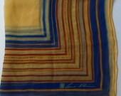 Anne Klein Cobalt Blue Red Yellow Silk Scarf