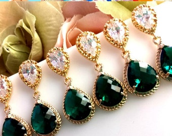 EMERALD Earrings, Emerald Green Gold Wedding Earrings, post earrings, Drop, Dangle Earrings,Bridesmaid Gift, Wedding Jewelry,Chirstmas GIFT
