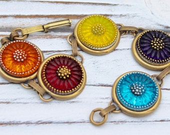Colorful Sunflower Bouquet - Czech glass button bracelet